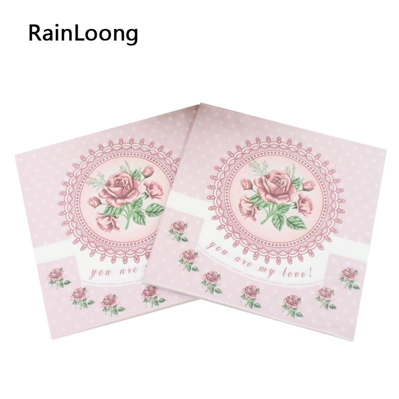 [RainLoong] 33cm * 33cm Rožnate papirnate prtičke Praznična in zabavna večerja za tirnice Serviette Guardanapo 2 sloja 5 paketov (20 kosov / paket)