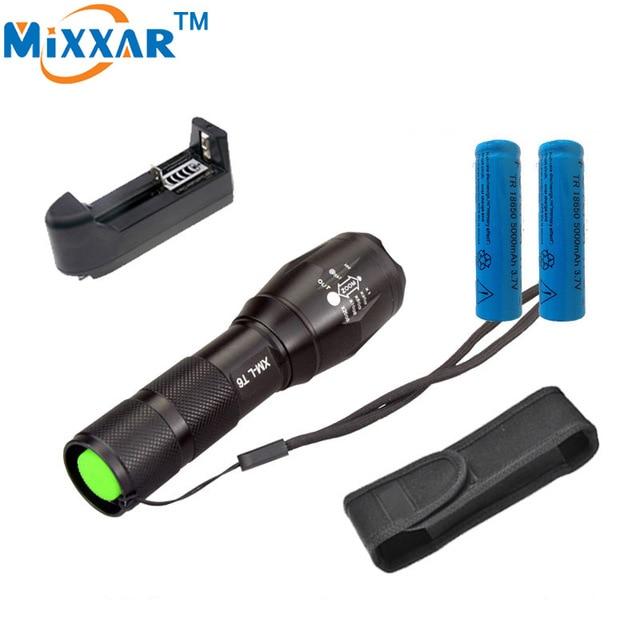 Zk10 4000 люмен xm-l t6 светодиодный фонарик светодиодный фонарик 5 режима Масштабируемые лампа + 2*18650 5000 мАч аккумуляторная батарея зарядное устройство и чехол