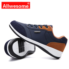 Allwesome 2019 New Brand Shoes Men Microfiber Leather Casual Flats Vulcanized Sneakers Chaussure Homme