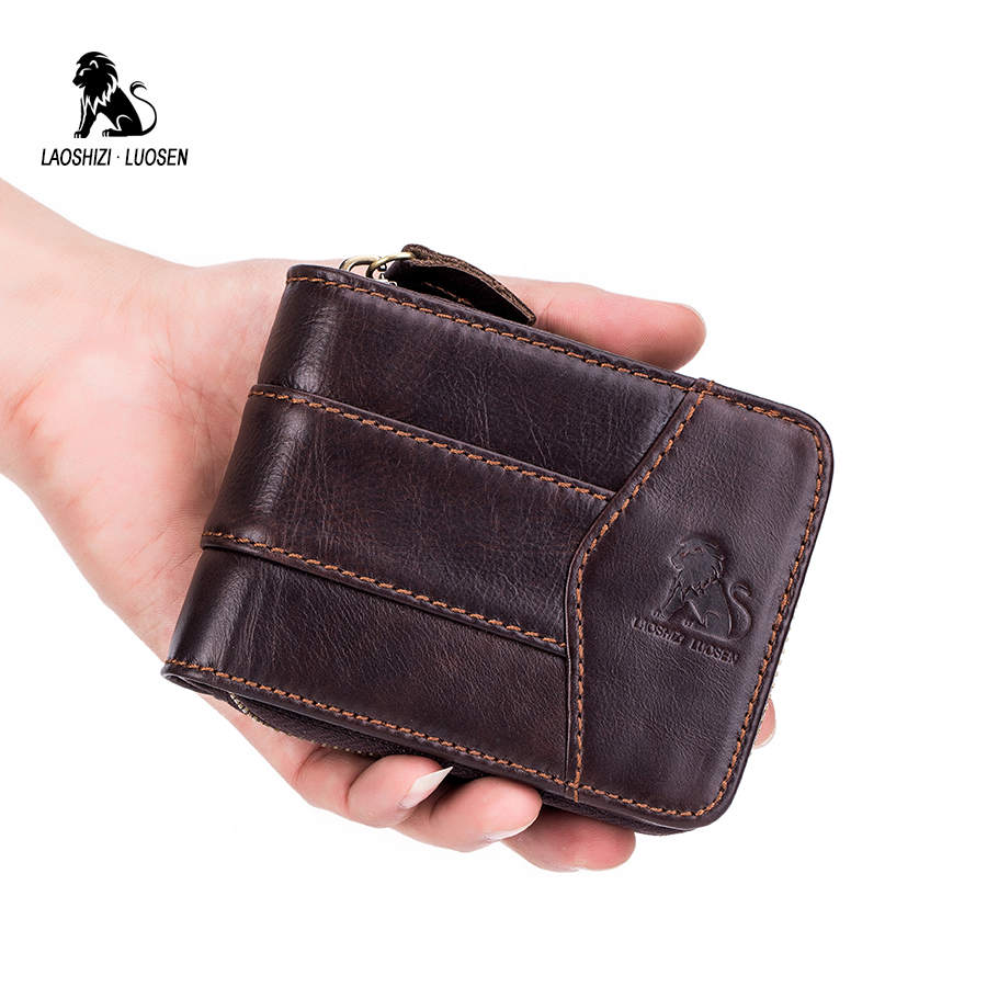 Genuine Leather ID Card Case Holder Men Wallets with Coin Pocket Zipper Coin Purse for Business Male Wallet Vintage Short Wallet men wallet male cowhide genuine leather purse money clutch card holder coin short crazy horse photo fashion 2017 male wallets