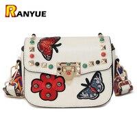 Rivet Butterfly Flower Embroidery Women Messenger Bags Crossbody Bag Women Famous Brands Designer Woman Leather Handbags
