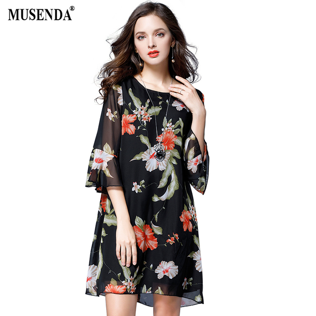 MUSENDA Plus Size Women Black Thin Chiffon Print Dress 2017 Autumn O-Neck Three Quarter Flare Sleeve Dress Lady Brief Dresses