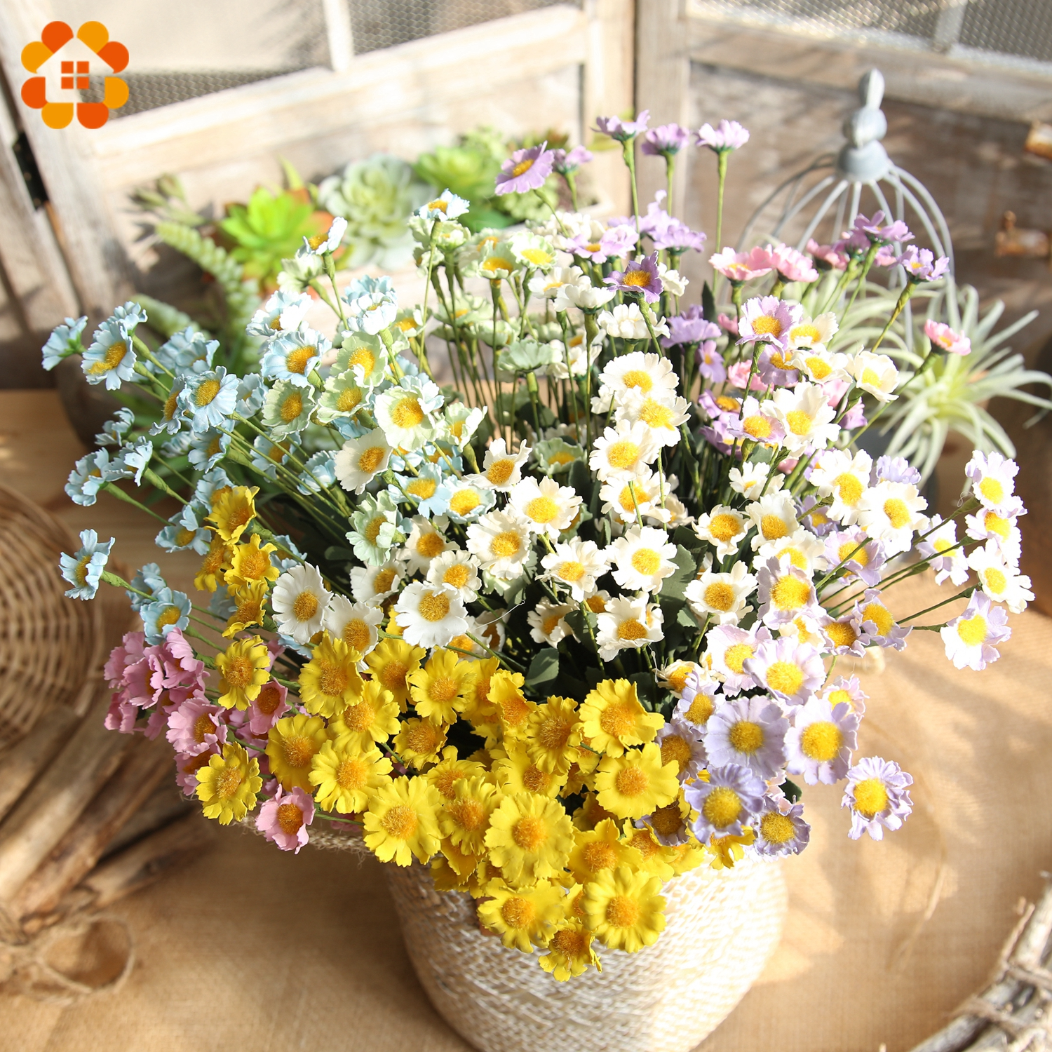 15 Heads/Branch Colorful Artificial Flowers Silk Daisy Flowers Fake Flowers DIY Wedding  ...