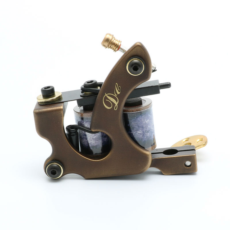 DC Professional Pure Copper Tattoo Machine Whole Wire Cutting Machine Handmade 10 Wraps Coil Tattoo Gun Shader Liner besta pure copper professional shader tattoo machine for masters high performance with perfect carving tattoo machine gun supply