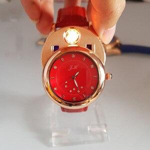 Image 2 - Delle donne Della Vigilanza orologi al quarzo sigaretta accendino USB di Ricarica Antivento creativo ambientale donne orologio JH 366