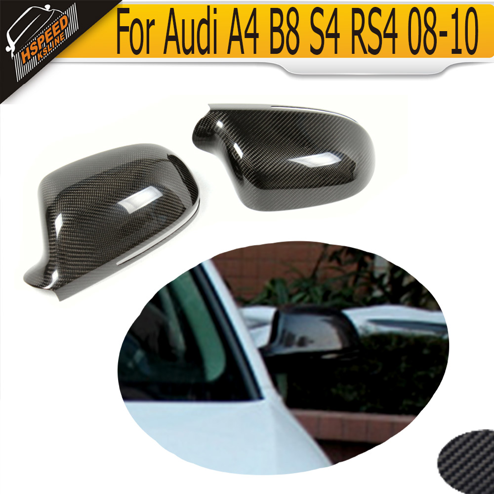 Carbon Fiber Mirror Cover Caps For Audi A4 B8 S4 RS4 08-10 without side assist