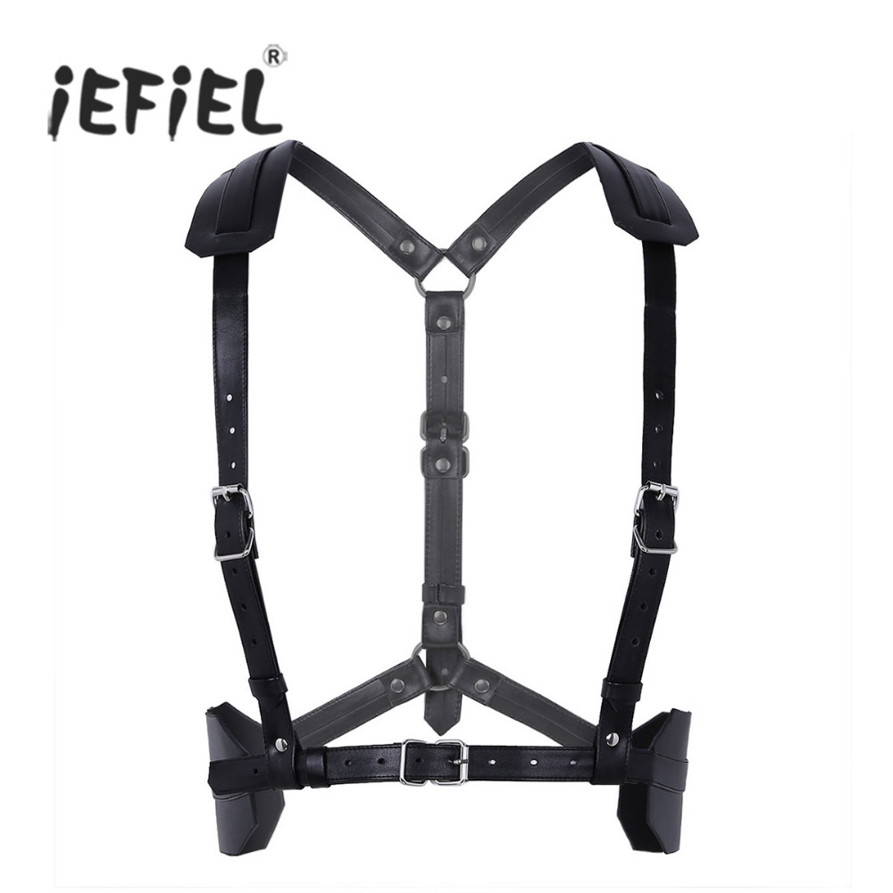 Mens Adjustable Soft Imitation Leather Shoulder Body Chest Harness Belt Punk Bondage Costume Straps with O Rings and Buckles