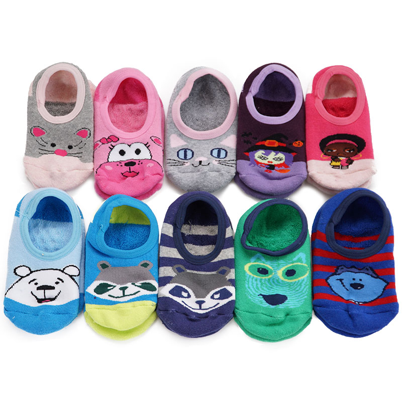 (3pcs/lot)Autumn Winter Socks Cute Unisex KidsToddler Girl Boy Short Socks Slipper,Slip-resistant Floor Cartoon Socks 4-12T