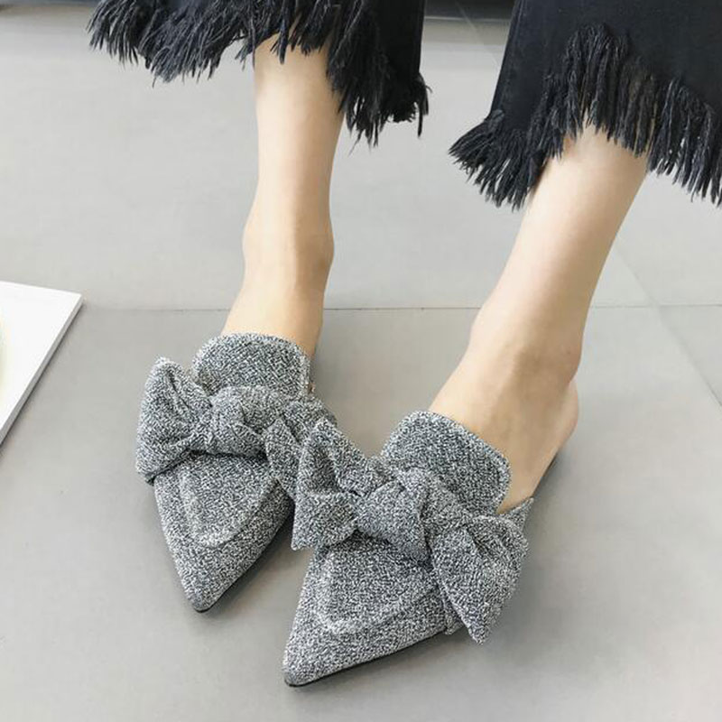 03161227376e4 Tangnest Bling Bowtie Summer Women Mules Pointed Toe Slingbacks Flats Women  Fashion Wedding Party Slides Shoes Slippers XWD6676