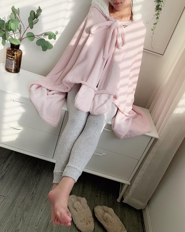 Cute Pink Comfy Blanket Sweatshirt Winter Warm Adults and Children Rabbit Ear Hooded Fleece Blanket Sleepwear Huge Bed Blankets 118