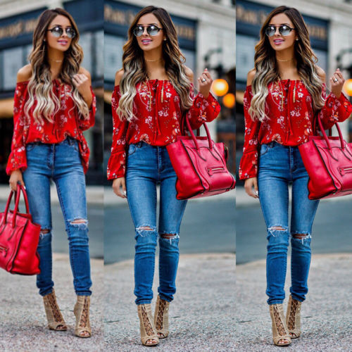 New Women Off Shoulder Tops Red Slash Neck Floral Autumn Long Sleeve Shirt Casual Blouse Loose Crop plus size short overalls