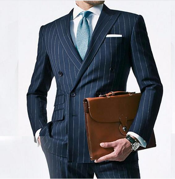 Chalk Stripe Men Suit Custom Made Navy Blue Mens Striped Wedding Suits,Tailored Double Breasted Men Suits With Ticket Pocket