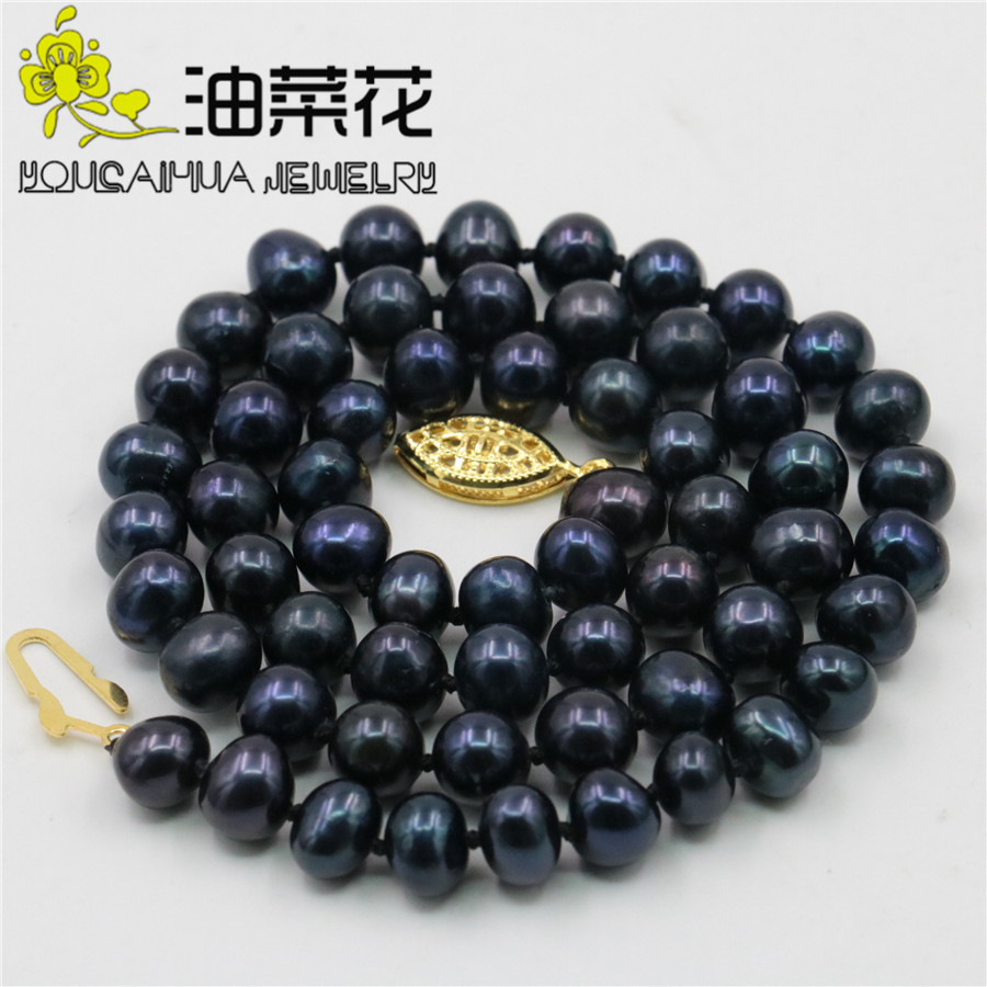 AAA 7-8mm Black Akoya Cultured Shell Pearl Necklace Beads Fashion Jewelry Making Design Natural Stone Hand Made Ornament 18xu43 long 80 inches 7 8mm white akoya cultured pearl necklace beads hand made jewelry making natural stone ye2077 wholesale price