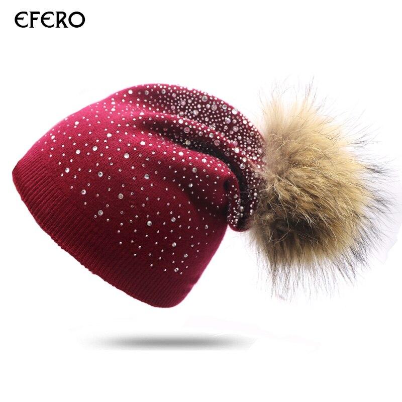 2pcs efero Ball Pom Poms Cap Winter Hat for Women Girls Hat Shiny Rhinestone Knitted   Beanies   Cap Thick   Skullies     Beanies   Hat