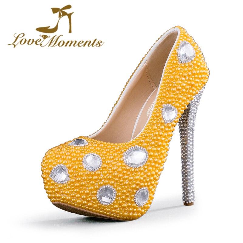 Love Moments Женская обувь из хрусталя Свадебная обувь Невеста Желтый жемчуг Вечеринка Вечерний камень ручной работы Леди Туфли на высоком каблуке Церемония на высоких каблуках