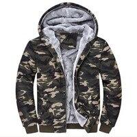 Winter Warm Thick Velvet Hoodies Army Camo Camouflage Coat Men Fleece Hooded Jackets Zipper Hoody Sweatshirts