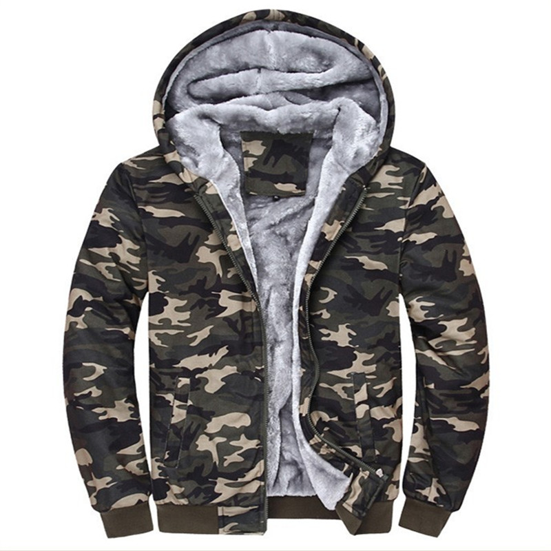 Winter Warm Thick Velvet Hoodies Army Camo Camouflage Coat Men Fleece Hooded Jackets Zipper Hoody Sweatshirts Outwear Tracksuits