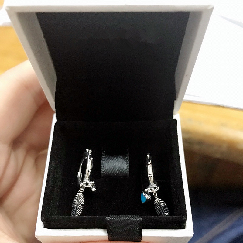 NEW! Perfect Charm logo Engraved S925 ales earring Spiritual Feathers Dangle charms Earrings women Turquoises Enamel,1pz women spiritual help seeking behavior
