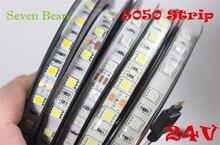 IP20/65 DC24V led streifen 5050 24v SMD 5M 300led 60led/M weiß/Warm weiß /RGB flexible led band wasserdichte innen decoartion