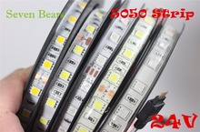 IP20/65 DC24V led strip 5050 24v SMD 5M 300led 60led/M wit/Warm wit /RGB flexibele led lint waterdicht indoor decoartion