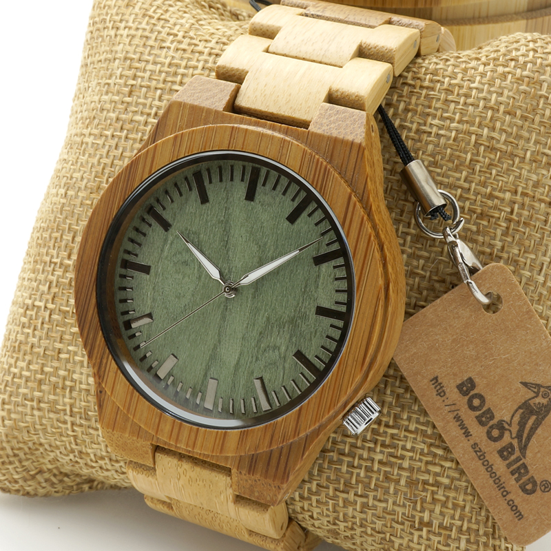 BOBO BIRD Watches Men's Bamboo Wooden Wristwatch Ghost Eyes Wood Strap Glow Analog Watch with Bamboo Gift Box C-B22 bobo bird l b08 bamboo wooden watches for men women casual wood dial face 2035 quartz watch silicone strap extra band as gift