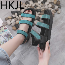 HKJL Fashion 2019 new Korean students cross belt sandals female summer flat bottom Rome jelly beach A493