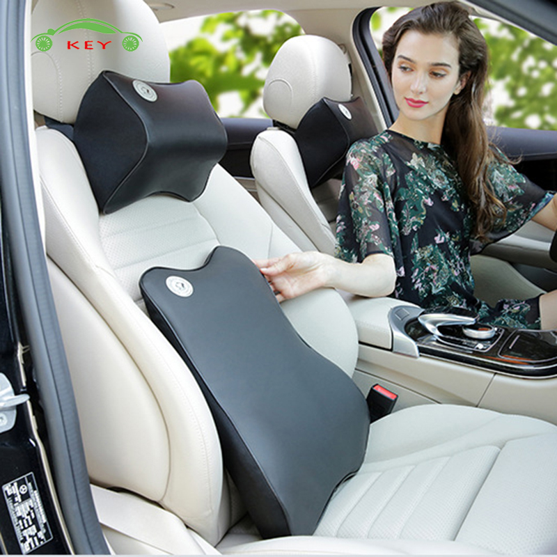 Support de Siège De voiture Mémoire Coton Appui-Tête De Massage Lombaire Coussin Oreiller pour Mercedes Benz Dodge Ford Audi Nissan Voiture Accessoires