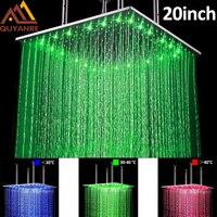 Матовый Никель LED 20 дюймов Насадки для душа Банные принадлежности осадков светодиодный душ Температура чувствительной