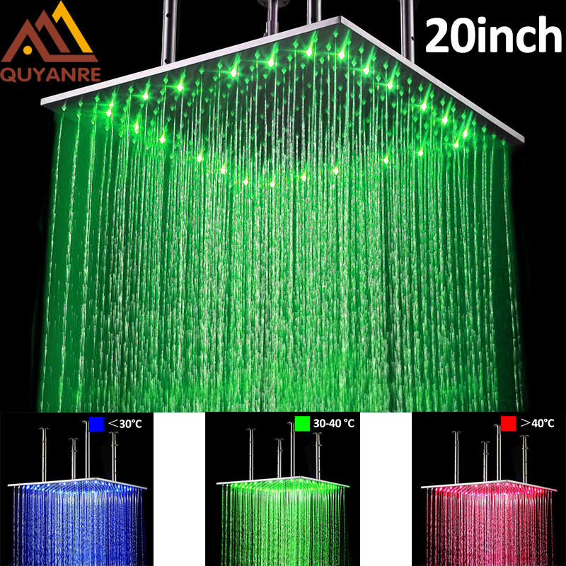 Brushed Nickel LED 20 Inch Shower Head Bathroom Faucet Accessories Rainfall LED Shower Temperature Sensitive