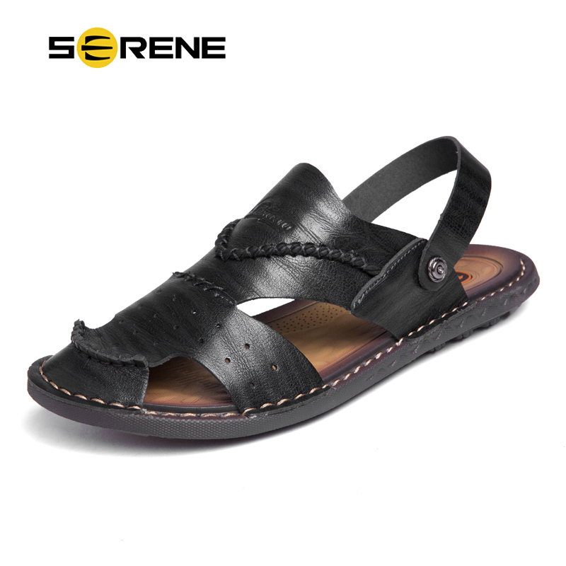 SERENE Brand Men Safety Toe Big Size 38-47 Leather Band Sandals Hot Top Slides Summer Black Slippers Slip On Fashion Casual Shoe