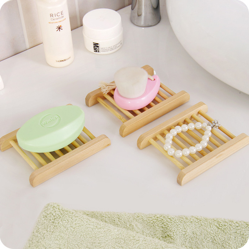 100pcs lot Natural Wood Soap Dishes Wooden Soap Tray Holder Storage Soap Rack Plate Box Container