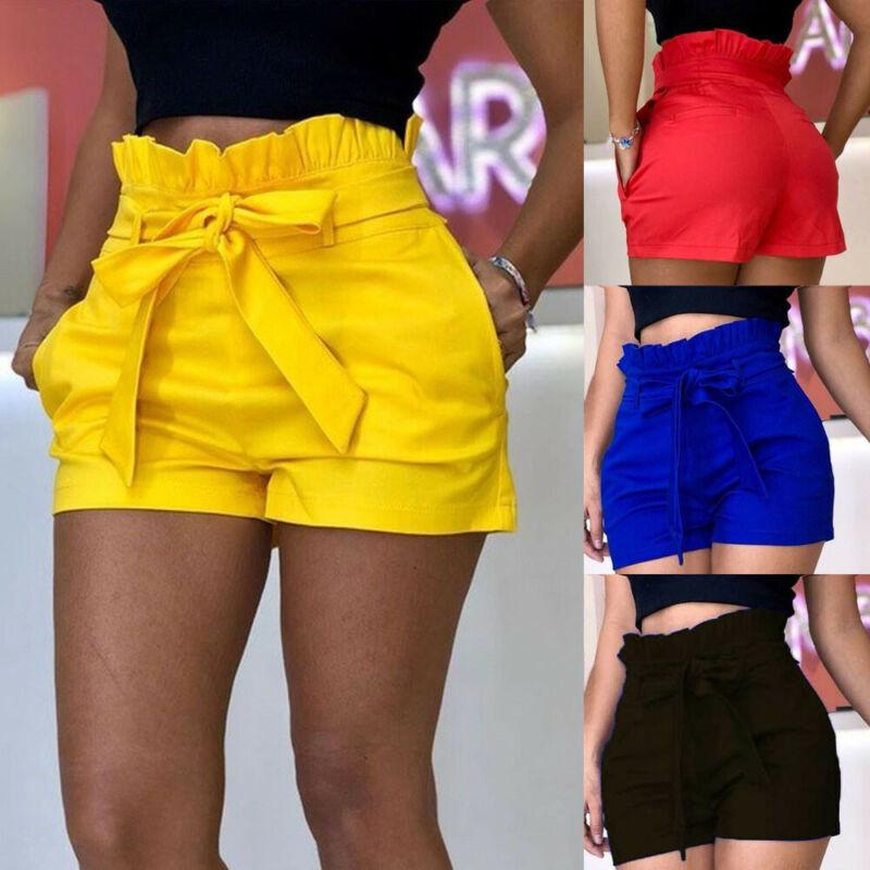 Женские повседневные летние короткие новые шорты с карманами и высокой посадкой однотонные брюки с бантом на шнурке feminino