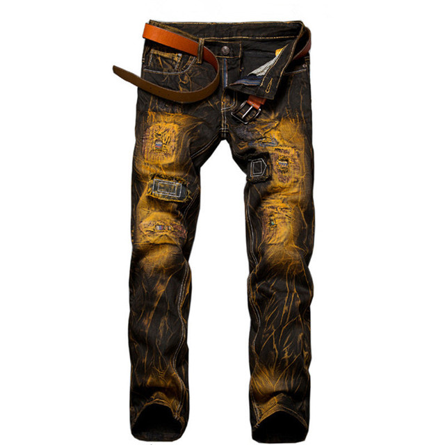 2016 Hommes Maigre Déchiré Biker Jeans Multi Poches Pantalon Cargo Vert Armée Hommes Plissée Crayon Jeans P2086