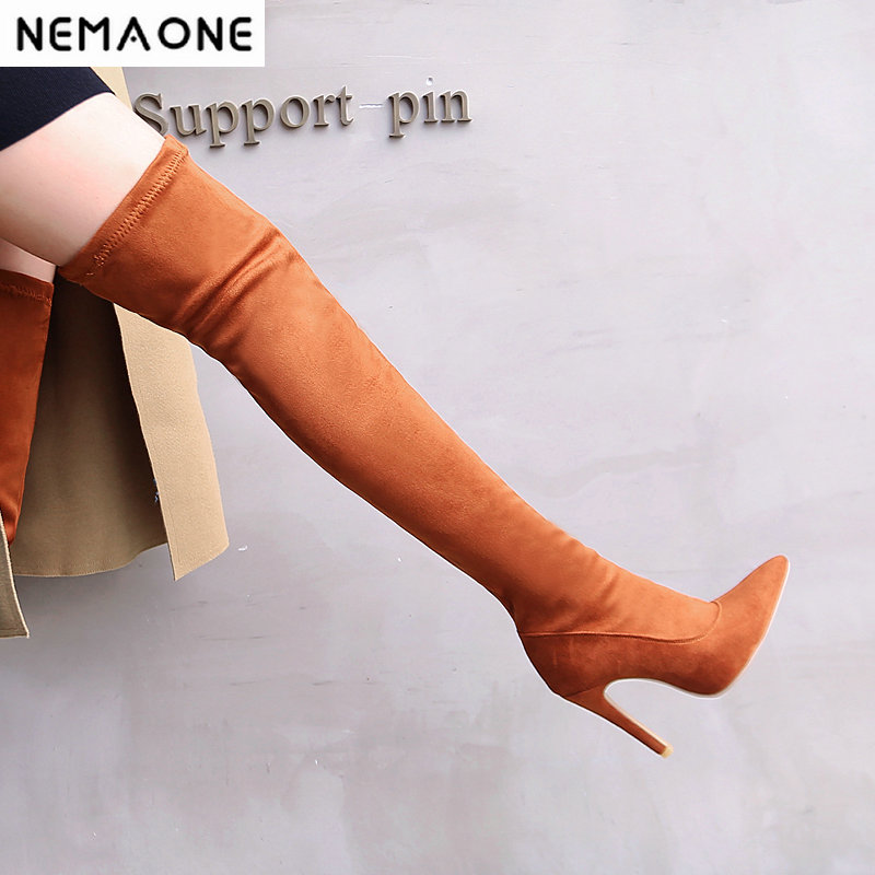 New 11cm high Heels women over the knee boots poined toe ladies spring autumn Boots party dress shoes woman black red yellow summer spring woman dress black white dog face pattern sequined beading chest black deep pink dress over knee cute cotton dress