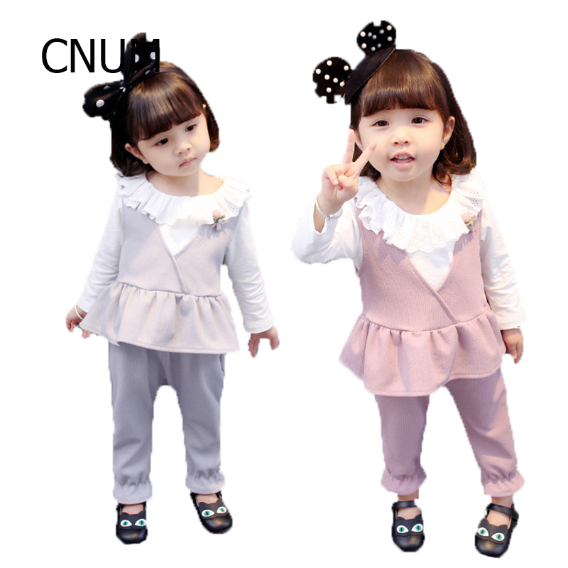 CNUM Baby Girl 3 Piece Set Autumn Top+vest+pants Baby Girls Clothing Sets 2017 Long Sleeve Kids Clothes Sets Years Cotton Cloth pogo club little girls 3 piece quilted vest set