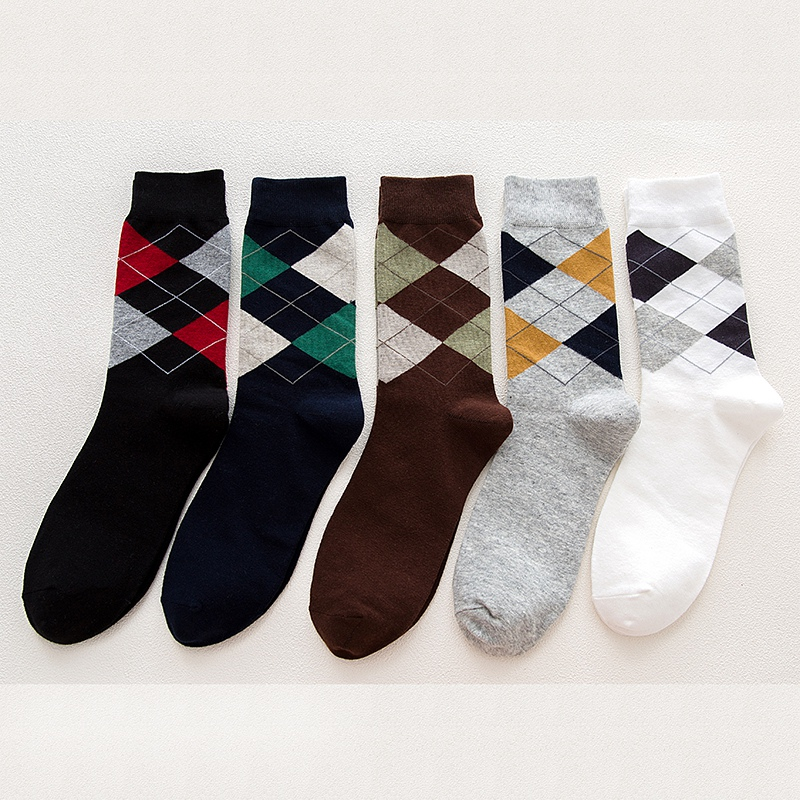 5 Pairs Lot Women Argyle Socks Colorful Combed Funny Socks Pattern Casual England Fashion School Men Cotton Crew Socks Business