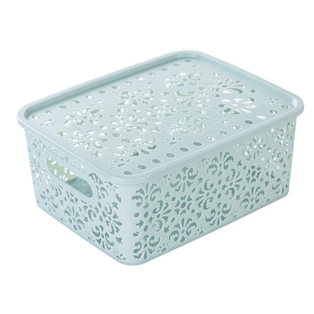 5Pcs/Lot Creative Hollow Desktop Toys Clothing Finishing Basket Box Plastic Storage  Box Flower Pattern