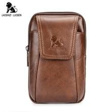 LAOSHIZI LUOSEN Ny Ankomst Mænd Ægte Læder Bælte Talje Bag Vintage Casual Herre Talje Pakker Bælte Hip Mobiltelefon Taske