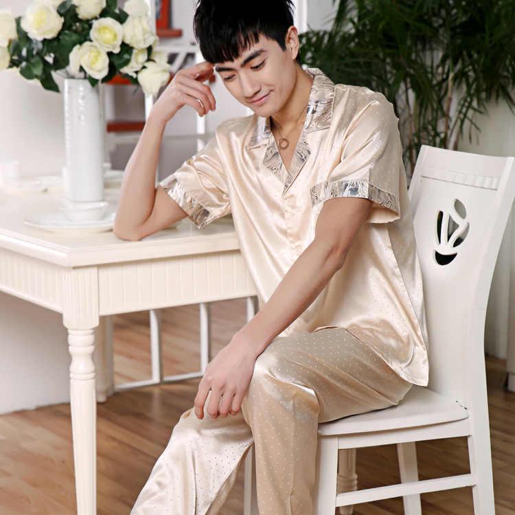 0ae8988b7f ... 2018 Men Nightwear Long Sleeve Soft China Silk Pajamas 2 Piece Set  Spring Summer Pyjama Homme ...