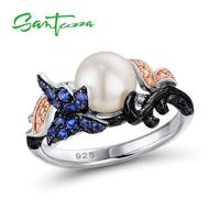 SANTUZZA Freshwater Pearl Ring For Women 925 Sterling Silver Rings for Women Cubic Zirconia Ringen Party Fashion Jewelry