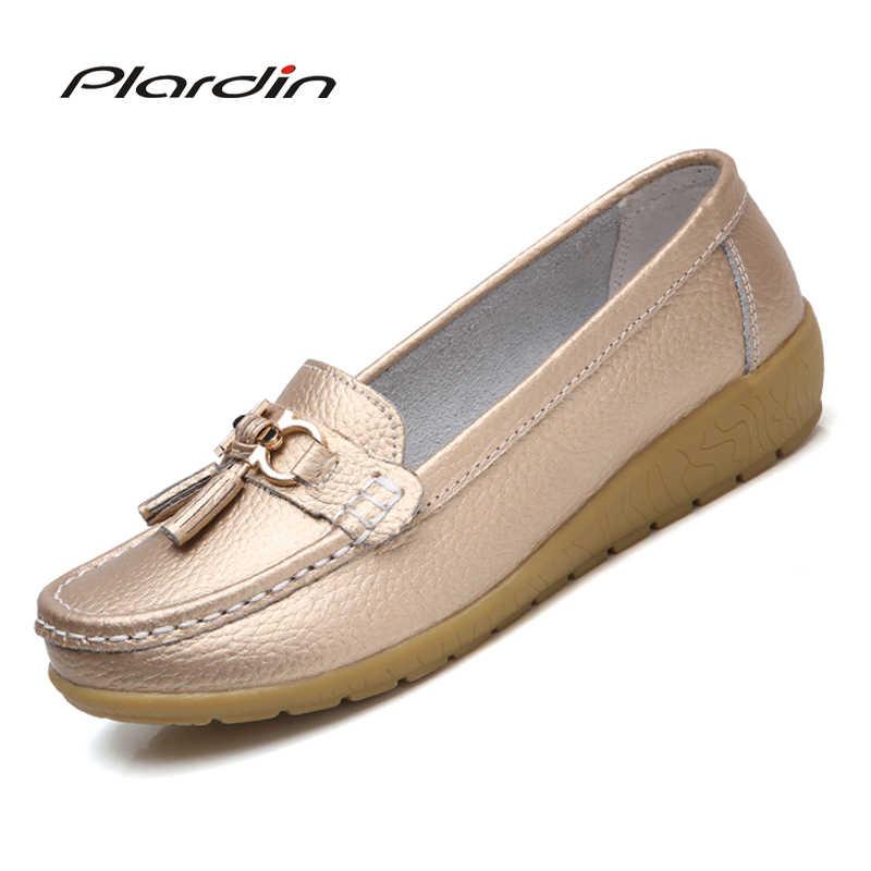 Plardin 2019 Sonbahar Yeni Deri orta yaşlı anne ayakkabısı kadın tek ayakkabı Bezelye Ayakkabı Deri Yumuşak Alt Kama Loafer'lar