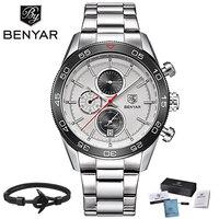 BENYAR Brand Luxury Watch Reloj Hombre Men Waterproof Quartz Sport Chronograph Watches Clock Relogio Masculino erkek kol saati
