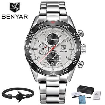 ff15e8a50e56 BENYAR marca de lujo Reloj Hombre impermeable de deporte de cuarzo  cronógrafo Reloj Relogio Masculino erkek kol saati