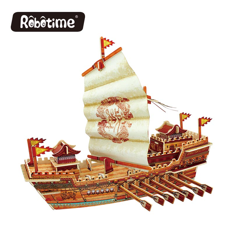 Robotime 3D wooden Puzzle DIY model Building kits Educational diecasts & toy vehicles for Chidren boat ship gifts BA504