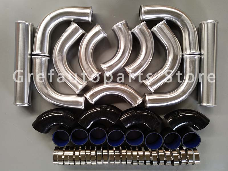 3 Aluminum Universal Intercooler Turbo Piping kit pipe Black hose T Coupler 76mm