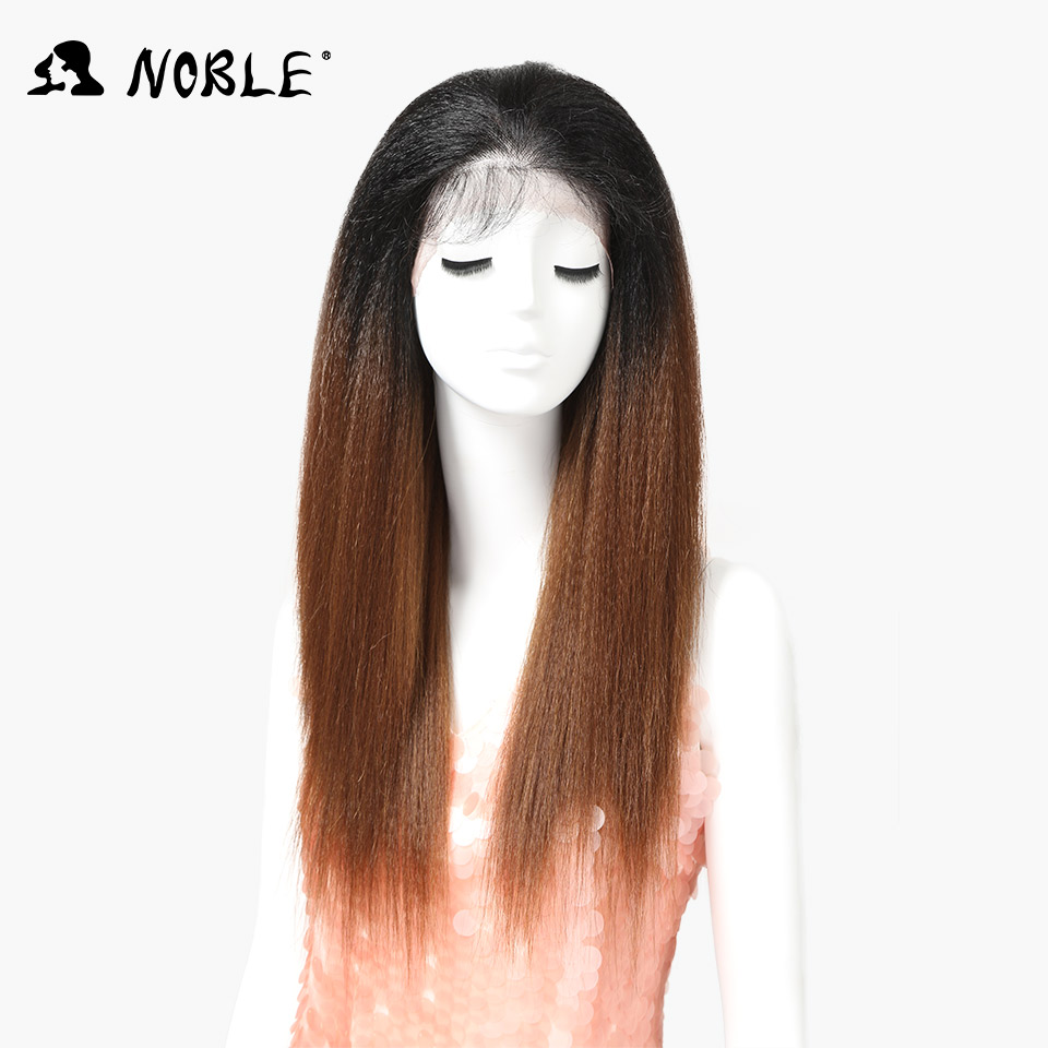 Nobel Synthetic Wigs With Baby Hair For Black Women 26 inch Heat Resistant Fiber Long Ombre Brown Yaki Straight Lace Front Wig