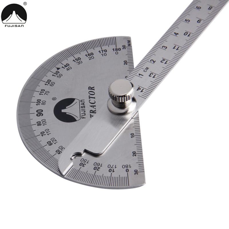 FUJISAN 0-180 gradi angolo righello in acciaio inox a testa tonda goniometro rotativo 145mm angolo regolabile strumenti di misura
