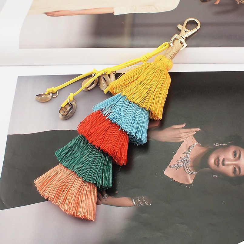 MANILAI Handmade Shell Saco Acessórios Pingente de Mulheres Bohemian Multicolor Algodão Borla Cadeia de Jóias Chave Charme Chaveiro