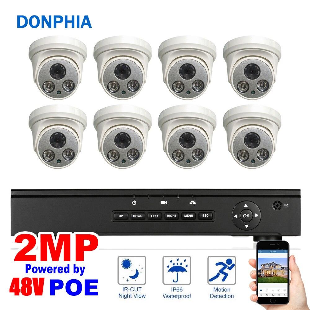 8 pcs Caméra Dôme POE NVR kit 1080 p Résolution 48 v POE Système de Sécurité 2MP Nuit Vision
