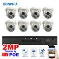 8 pz Dome Camera POE NVR kit 1080 p Risoluzione 48 v POE Sistema di Sicurezza 2MP di Visione Notturna